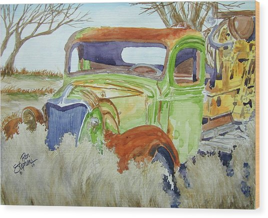 Ole Rusty Green Wood Print