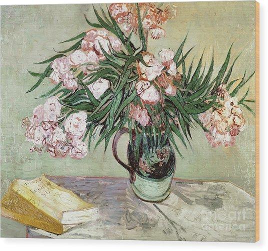 Oleanders And Books Wood Print