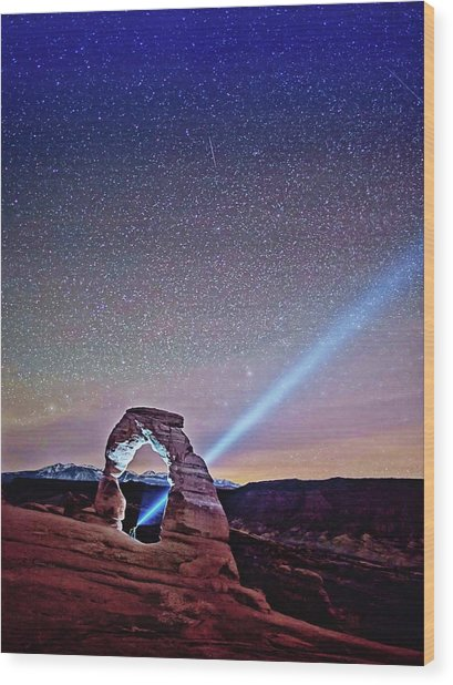 Olena Art Starry Night Pointer At Delicate Arch Moab National Park Wood Print