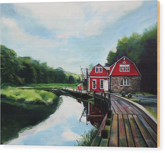 Ole's Boathouse In Riverside Connecticut Wood Print by Colleen Proppe