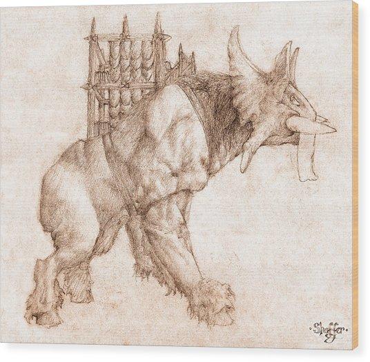 Oliphaunt Wood Print
