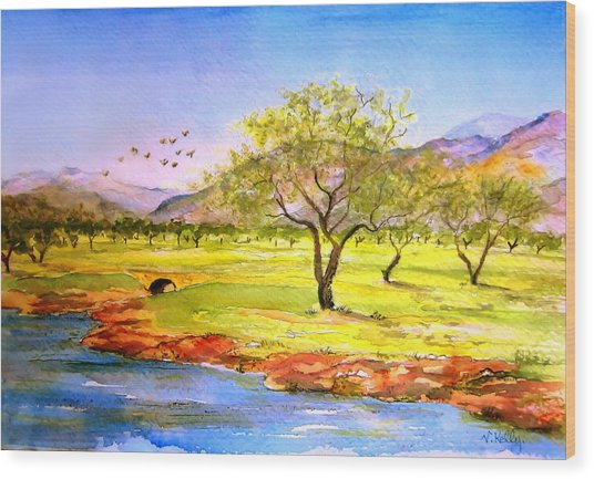 Wood Print featuring the painting Olive Grove by Valerie Anne Kelly