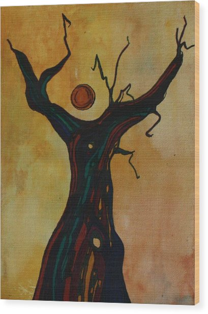 Olive Tree Woman Wood Print