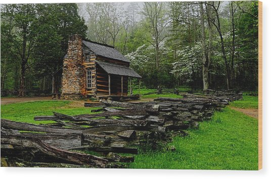 Oliver's Cabin Among The Dogwood Of The Great Smoky Mountains National Park Wood Print