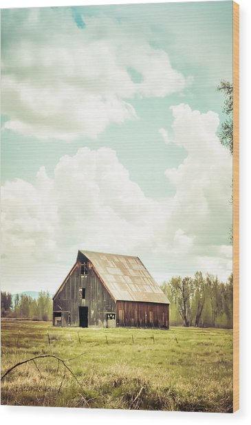 Olsen Barn In Green Wood Print