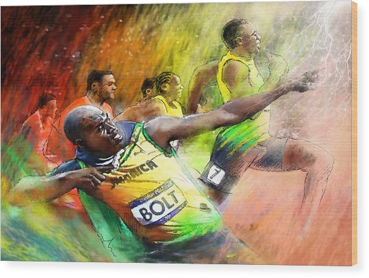 Olympics 100 M Gold Medal Usain Bolt Wood Print