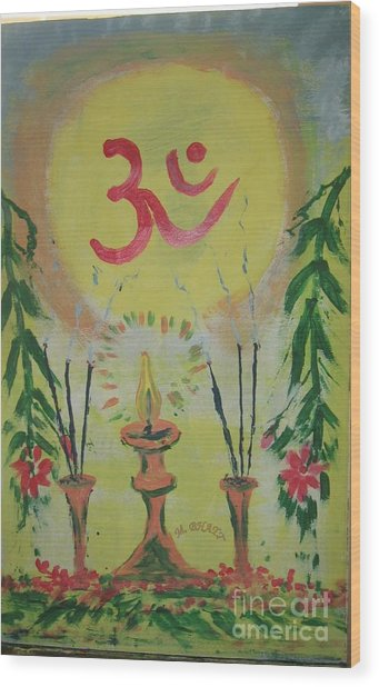 Om Immage For Memmory Wood Print by m Bhatt