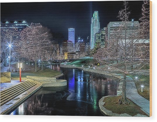 Omaha Holiday Lights Festival Wood Print