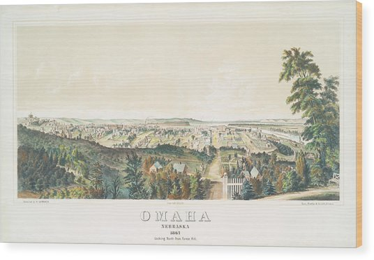 Omaha, Nebraska Looking North From Forest Hill 1867 Wood Print