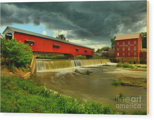 Wood Print featuring the photograph Ominous Skies Over Bridgeton by Adam Jewell