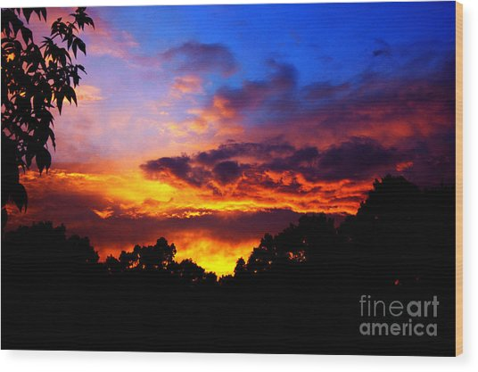 Ominous Sunset Wood Print