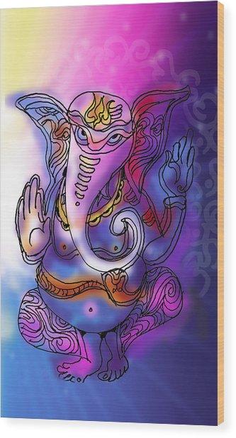 Omkareshvar Ganesha Wood Print