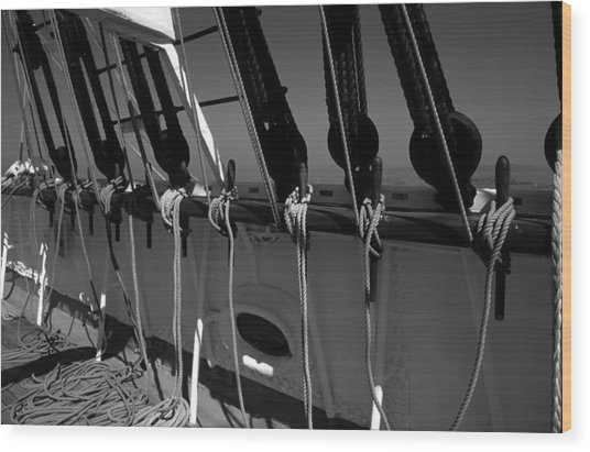 On Deck Starboard Side Wood Print