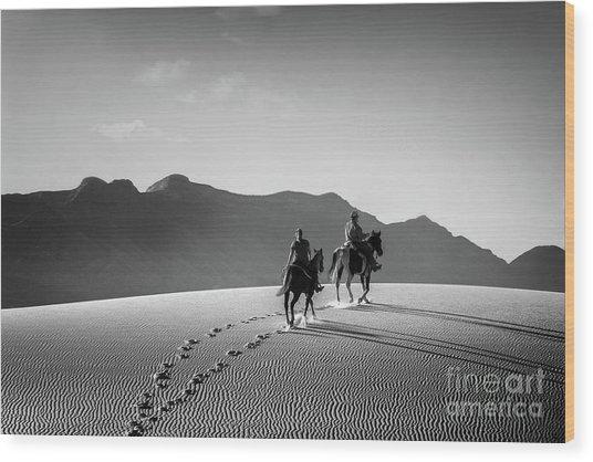 On Horseback At White Sands Wood Print