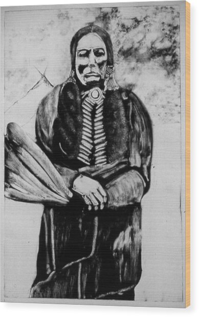 On Kiowa Reservation Wood Print by Dan RiiS Grife