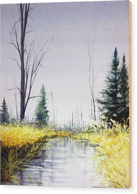 On Silver Pond Wood Print
