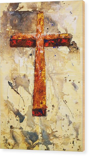 On That Old Rugged Cross Wood Print