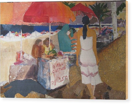 On The Beach In Rio Wood Print