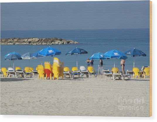 On The Beach-tel Aviv Wood Print