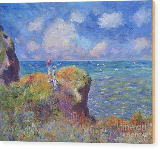 On The Bluff At Pourville - Sur Les Traces De Monet Wood Print by David Lloyd Glover