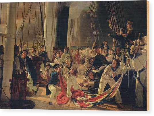 On The Deck During A Sea Battle Wood Print