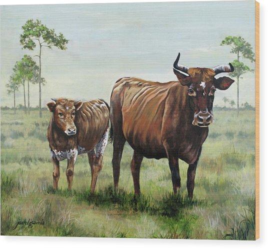On The Florida Prairie Cracker Cattle Wood Print