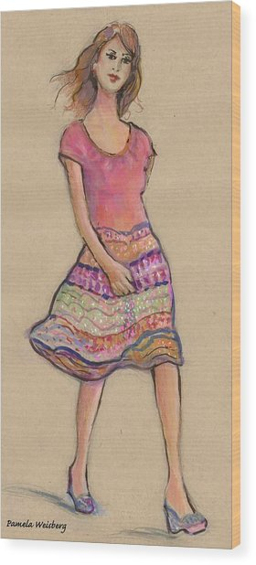 On The Go Fashion Illustration Wood Print