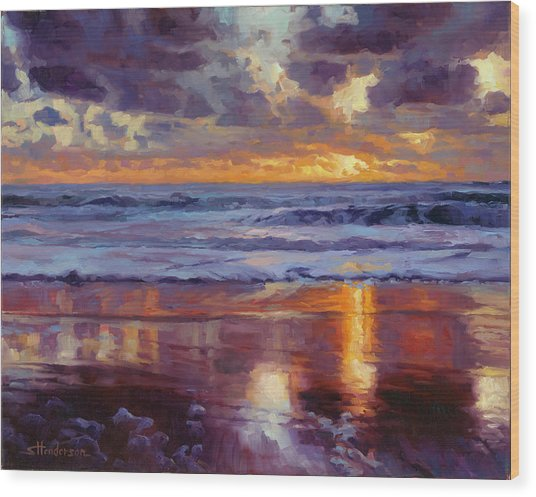Wood Print featuring the painting On The Horizon by Steve Henderson