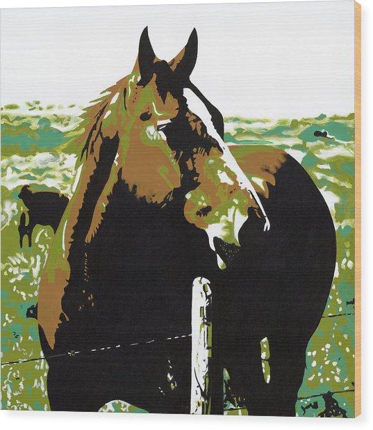 On The Range - Brown Wood Print by Sonja Olson