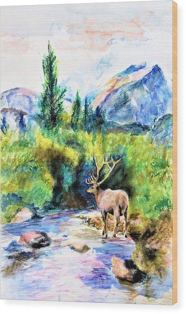 On The Stream Wood Print