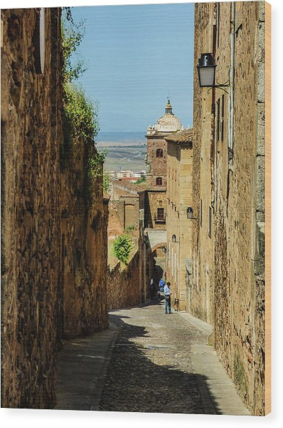 On The Streets Of Caceres Wood Print