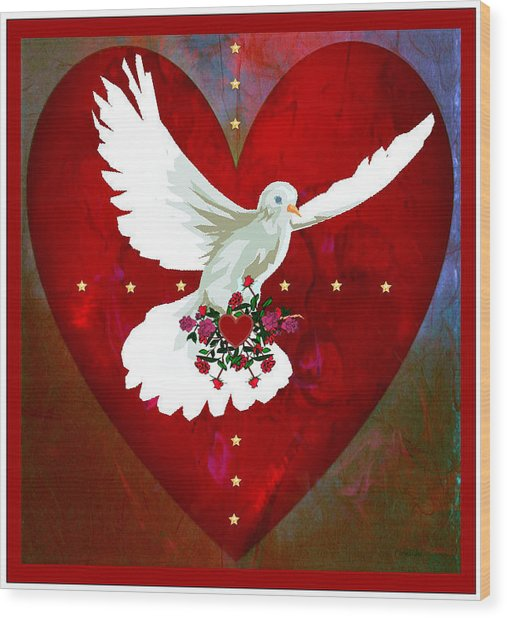 On The Wings Of Love Wood Print