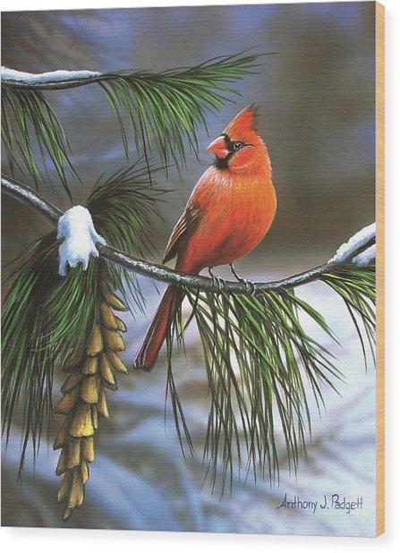 On Watch - Cardinal Wood Print