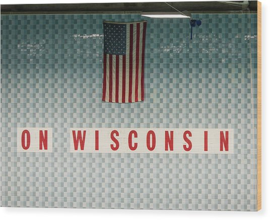 On Wisconsin  Wood Print