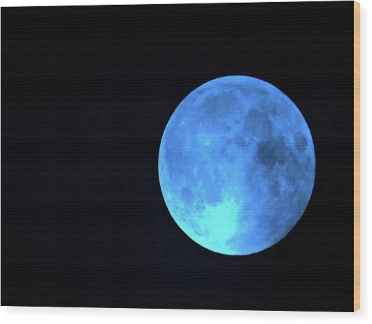 Once In A Blue Moon Wood Print