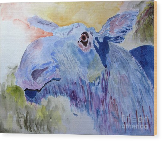 Once In A Blue Moose Wood Print