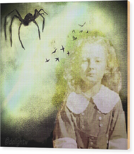 Wood Print featuring the digital art Once There Was A Spider by Delight Worthyn