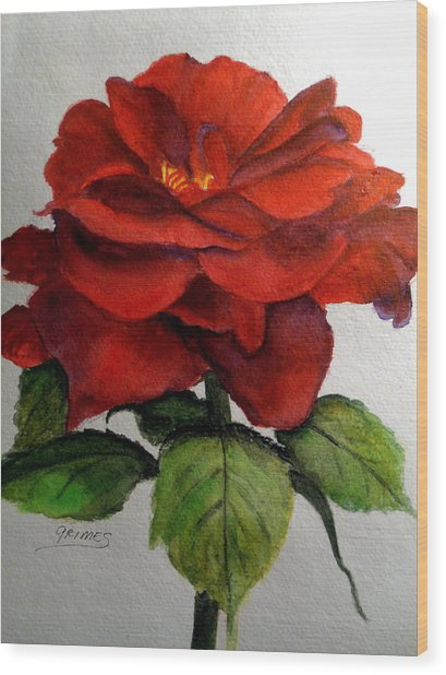 One Beautiful Rose Wood Print