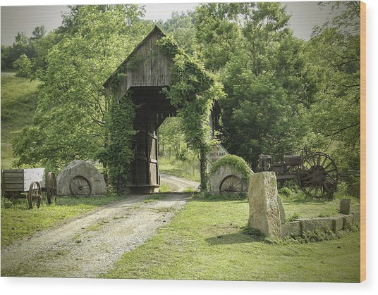 One Lane Covered Bridge Wood Print
