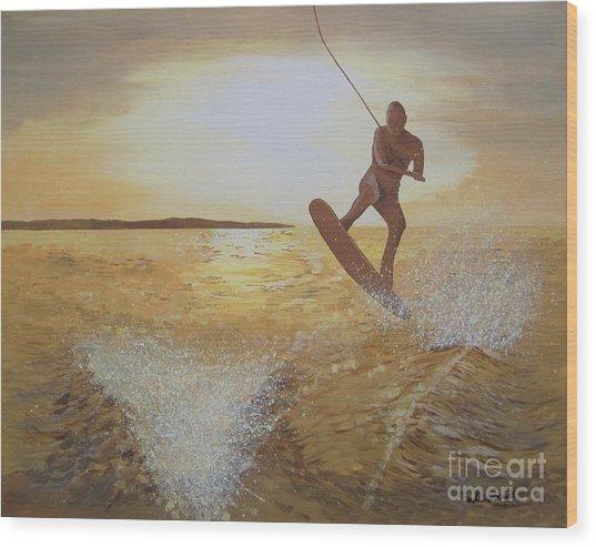One Last Jump Wood Print by Jennifer  Donald