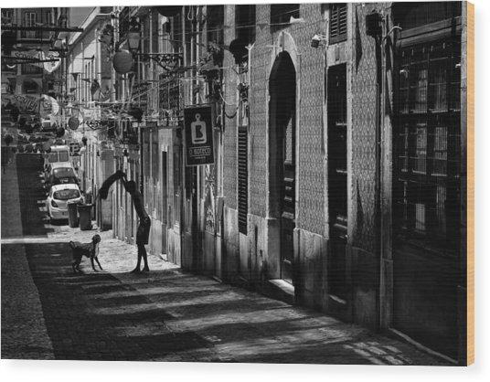One Man And His Dog. Bairro Alto. Lisbon Wood Print