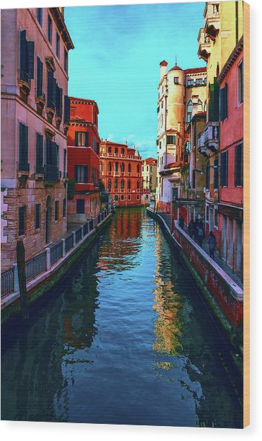 one of the many beautiful old Venetian canals on a Sunny summer day Wood Print