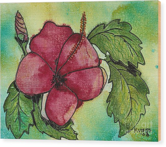 One Pink Hibiscus Wood Print by Susan Kubes