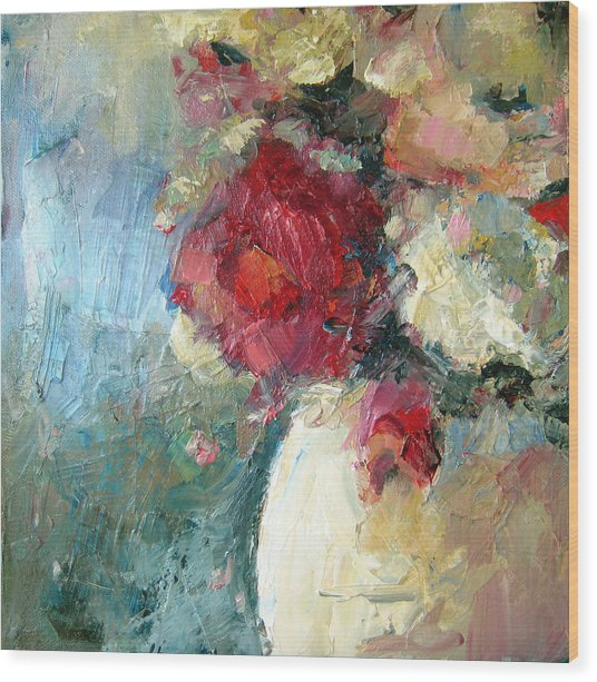 One Red Rose Wood Print by Sharleen Boaden