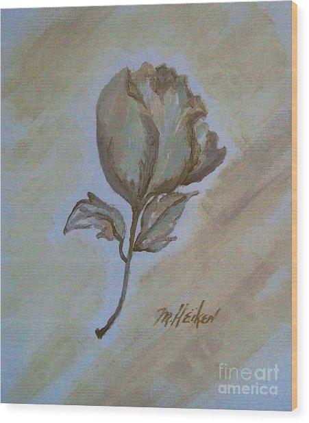 One Rose Wood Print by Marsha Heiken