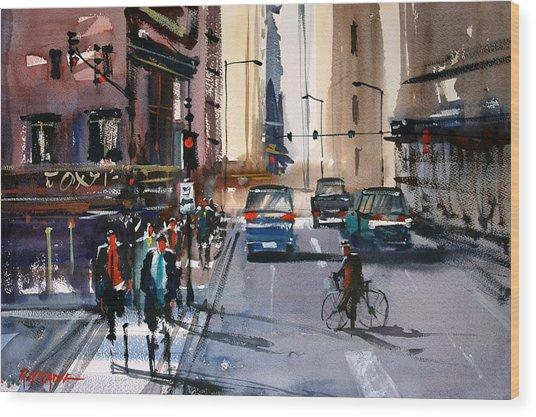 One Way Street - Chicago Wood Print