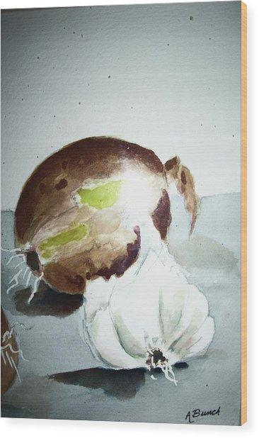 Onion And Garlic Wood Print
