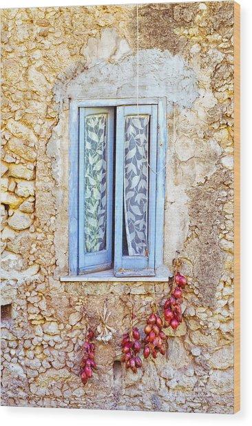 Onions And Garlic On Window Wood Print