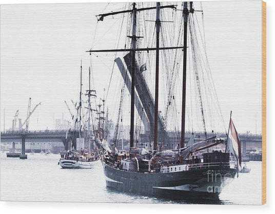 Wood Print featuring the photograph Oosterschelde Leaving Port by Stephen Mitchell