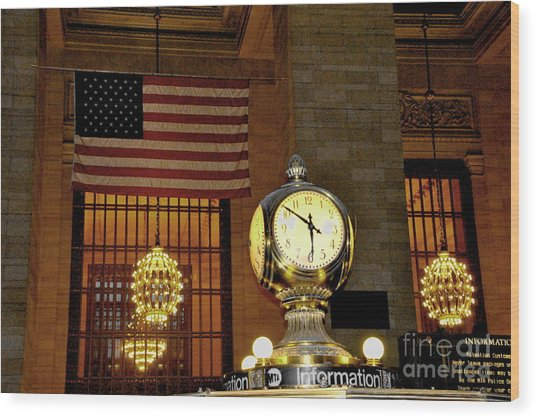 Opal Atomic Clock At Grand Central Wood Print by Jacqueline M Lewis